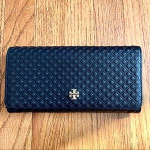 Tory Burch Black Marion Embossed Envelope Wallet